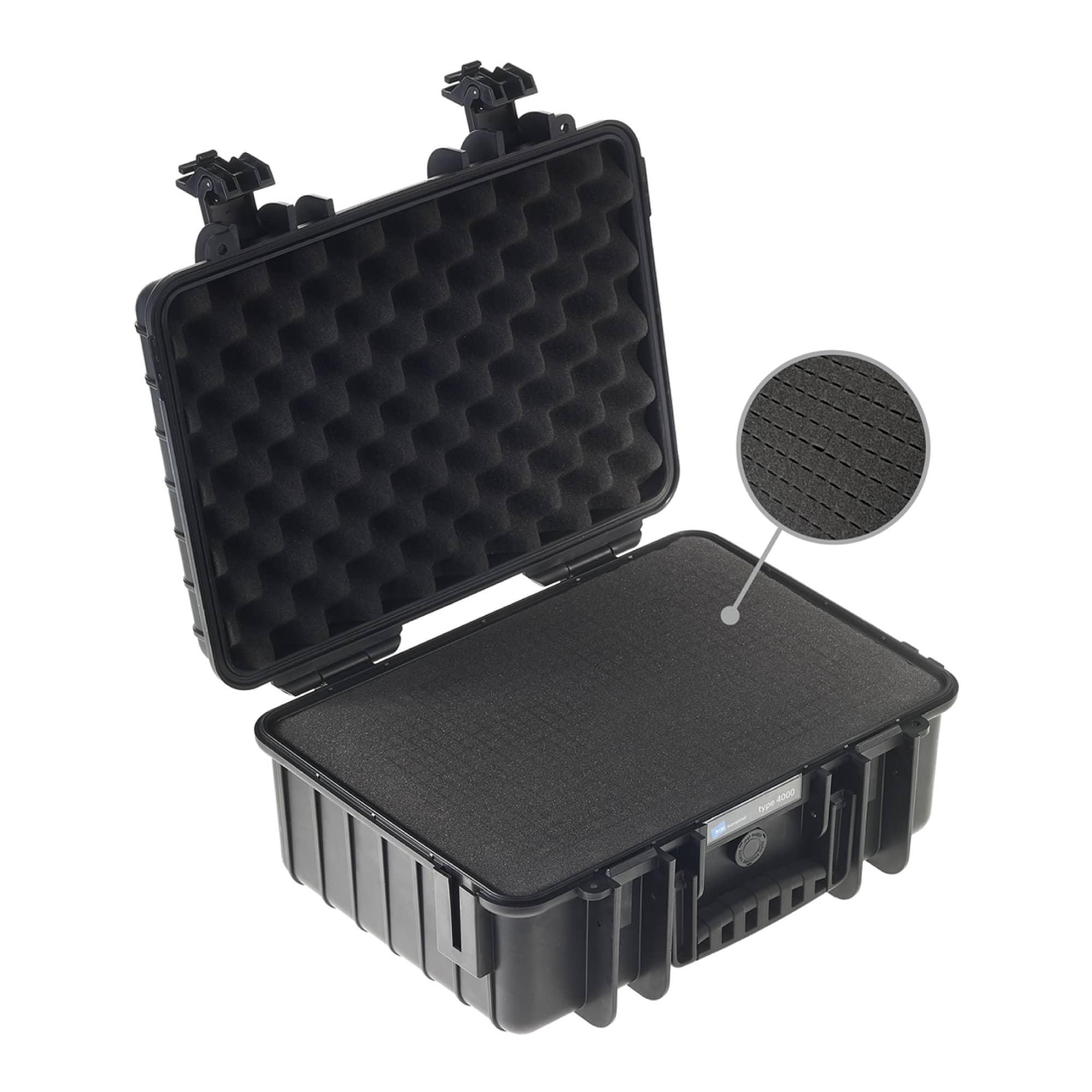 B&W Outdoor Case Typ 4000 schwarz mit vorgestanztem Würfelschaum (SI)