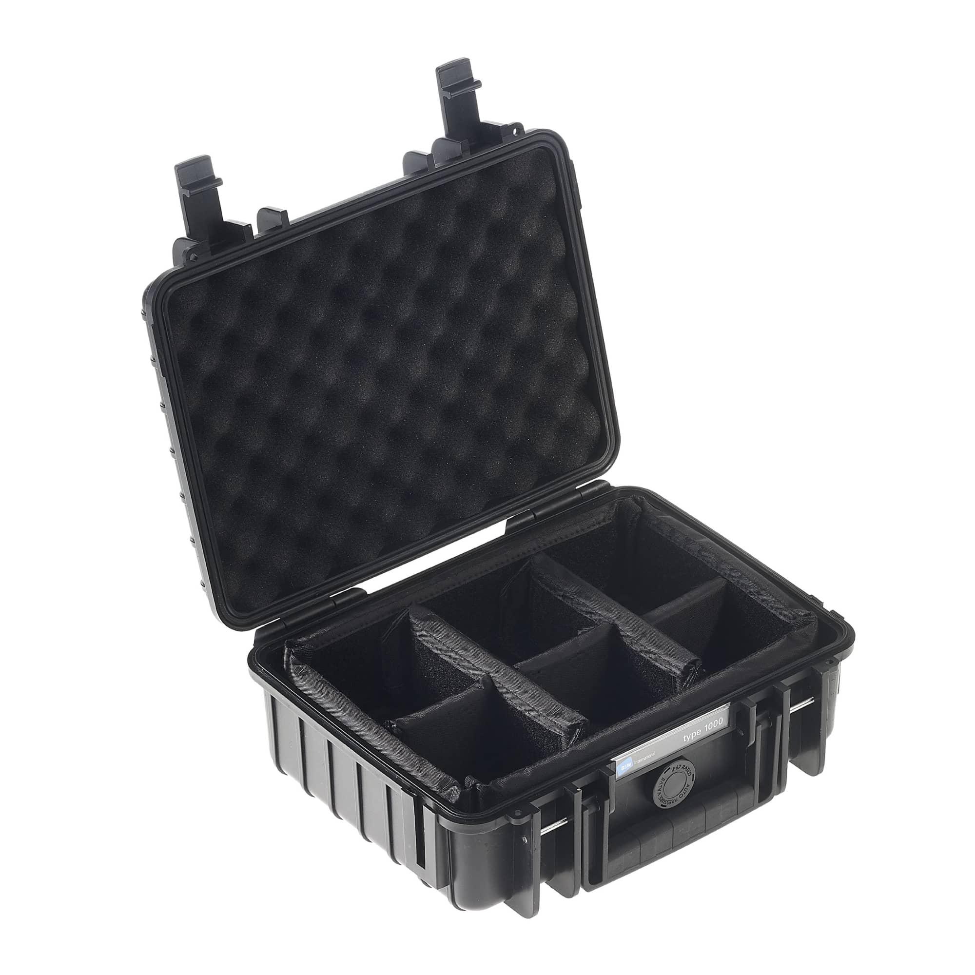 B&W Outdoor Case Typ 1000 schwarz mit variabler Facheinteilung (RPD)
