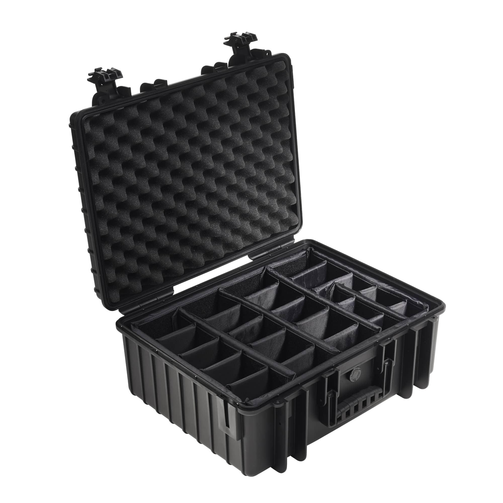 B&W Outdoor Case Typ 6000 schwarz mit variabler Facheinteilung (RPD)
