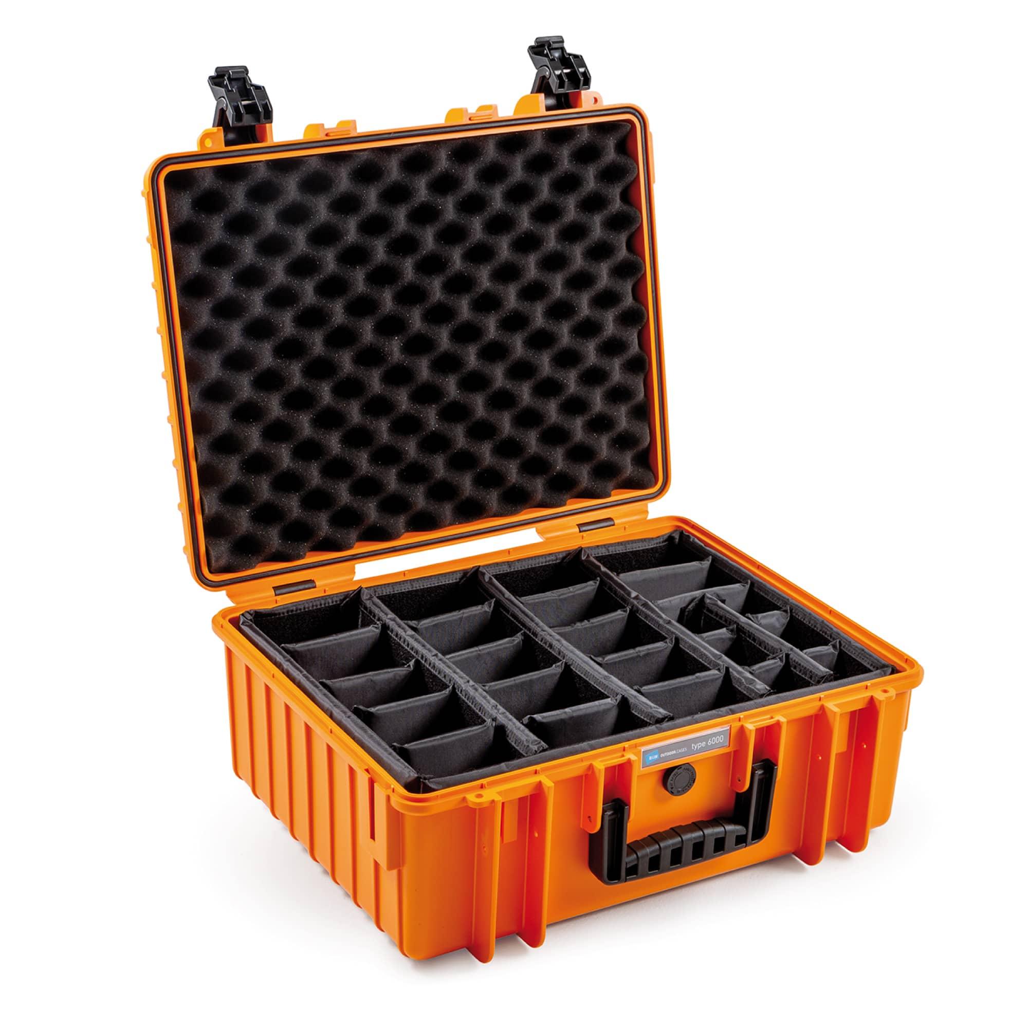B&W Outdoor Case Typ 6000 orange mit variabler Facheinteilung (RPD)
