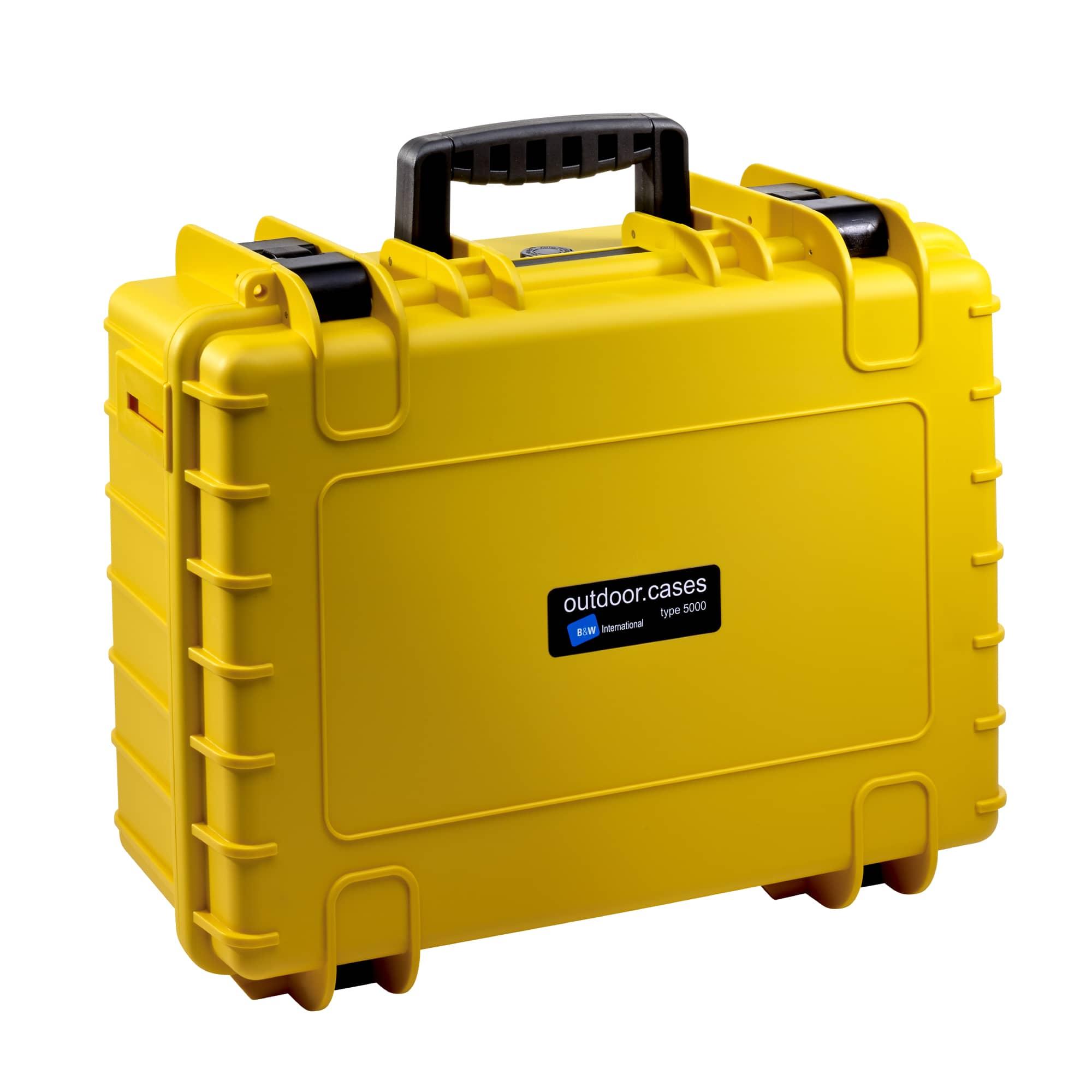 B&W Outdoor Case Typ 5000 gelb mit vorgestanztem Würfelschaum (SI)
