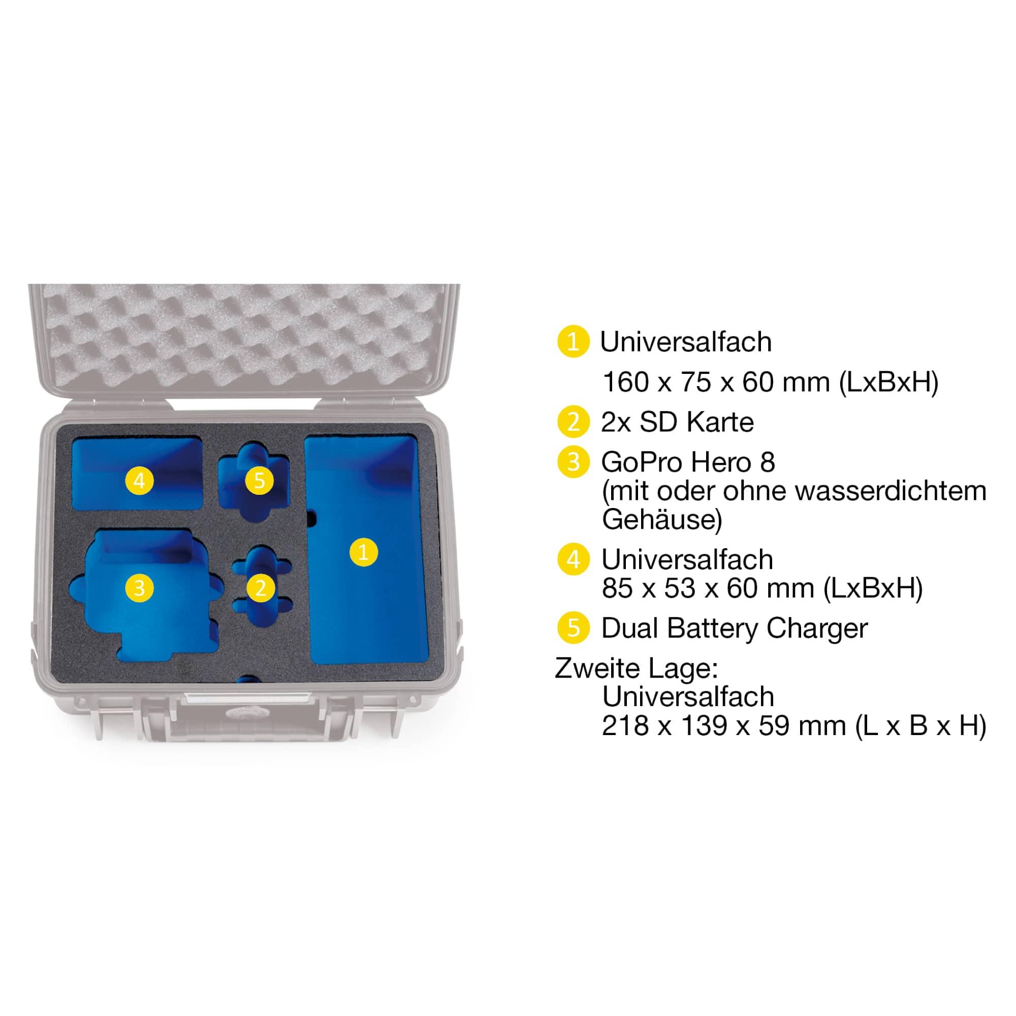 B&W Special Case Typ 2000 mit 3D-Schaum für GoPro 8