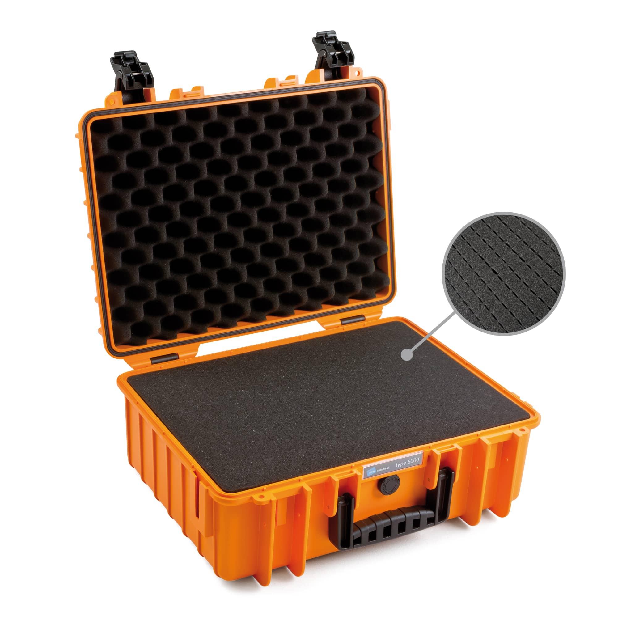 B&W Outdoor Case Typ 5000 orange mit vorgestanztem Würfelschaum (SI)